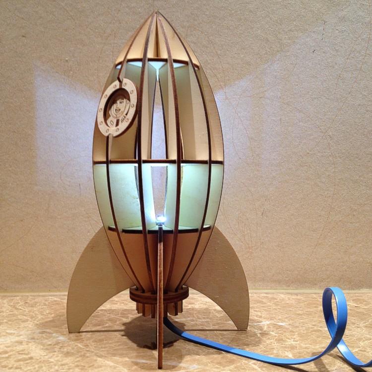 diy wooden rocket lamp