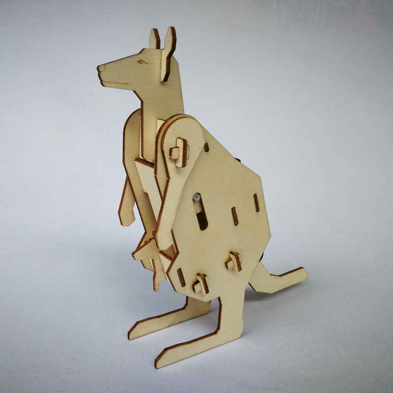 Electric DIY wooden toy kangaroo mom